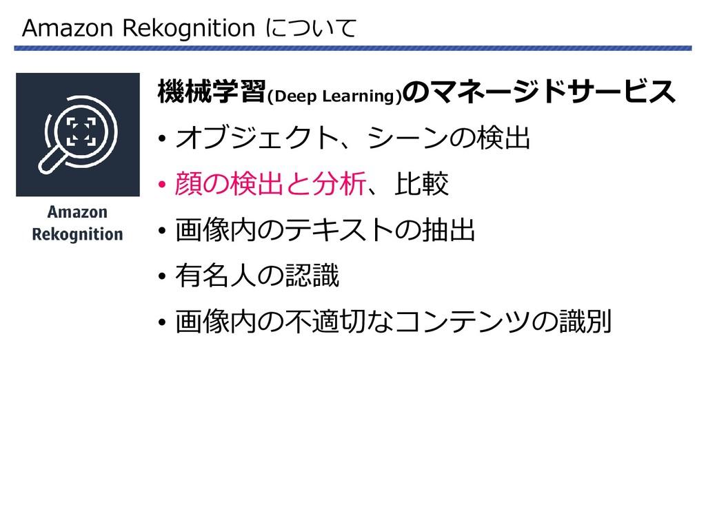 Amazon Rekognition について 機械学習(Deep Learning) のマネ...