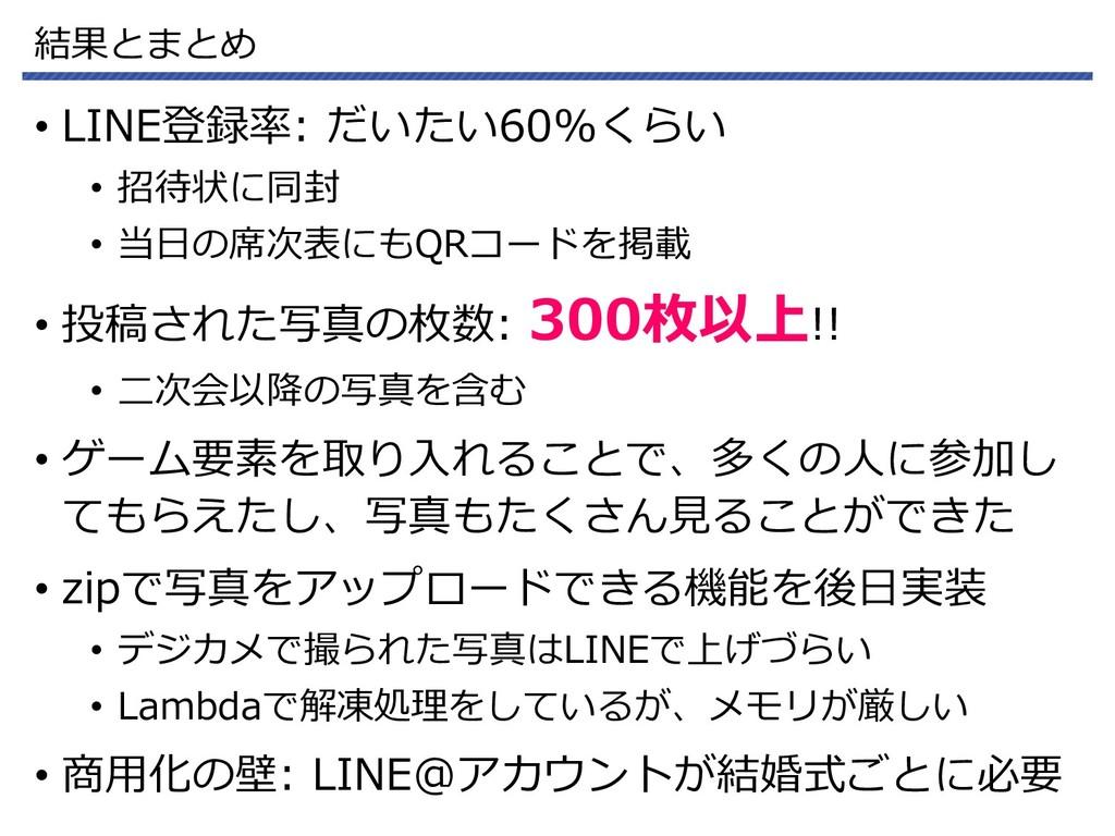 結果とまとめ • LINE登録率: だいたい60%くらい • 招待状に同封 • 当日の席次表に...