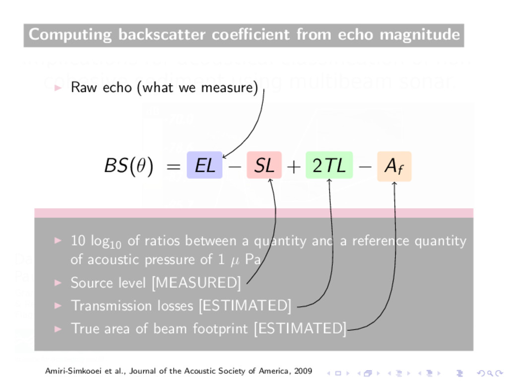 Computing backscatter coefficient from echo magni...