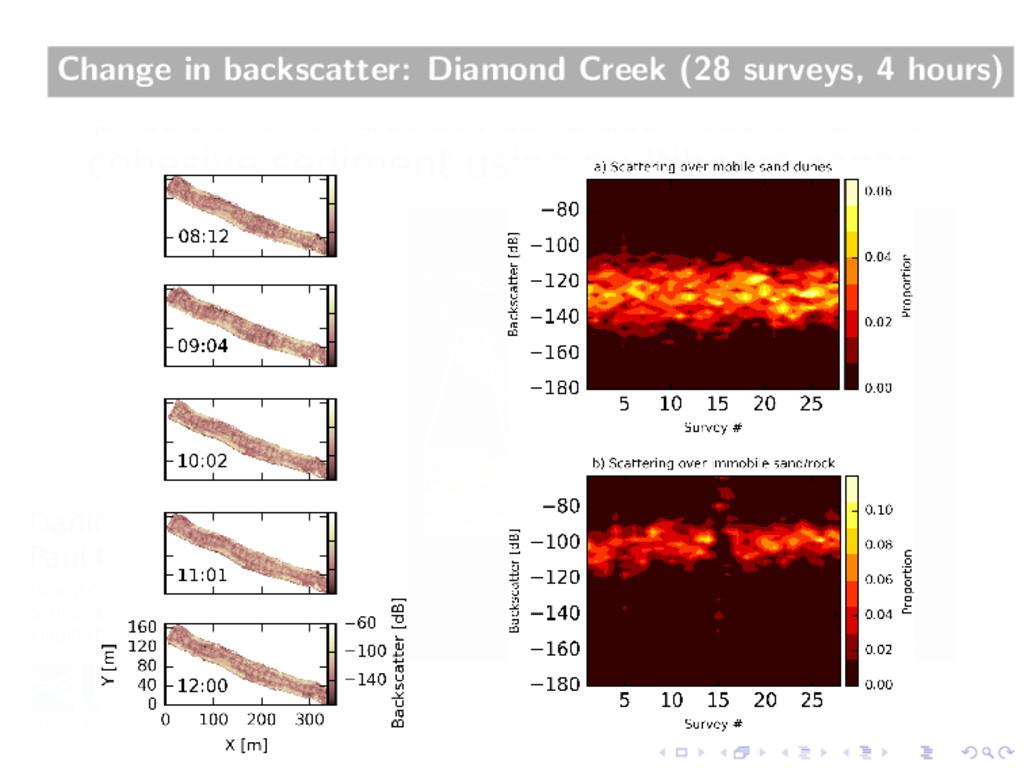 Change in backscatter: Diamond Creek (28 survey...