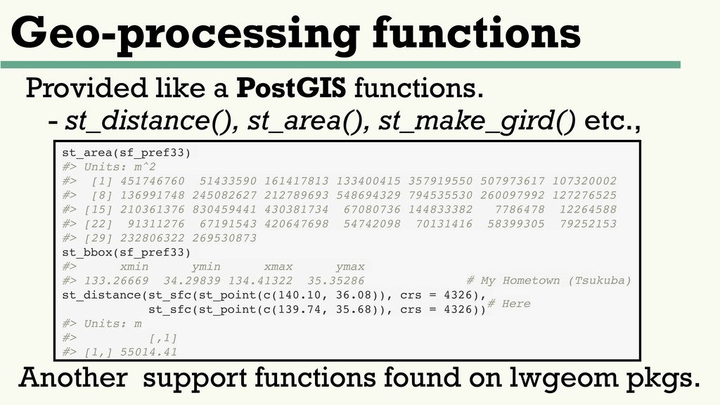 Geo-processing functions Provided like a PostGI...
