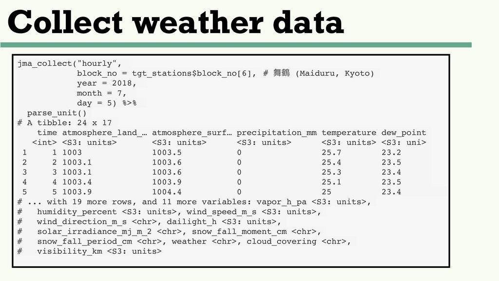 "Collect weather data jma_collect(""hourly"", bloc..."