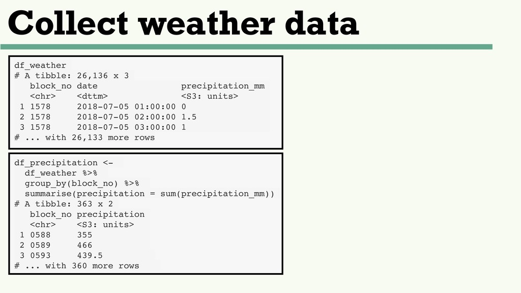Collect weather data df_weather # A tibble: 26,...