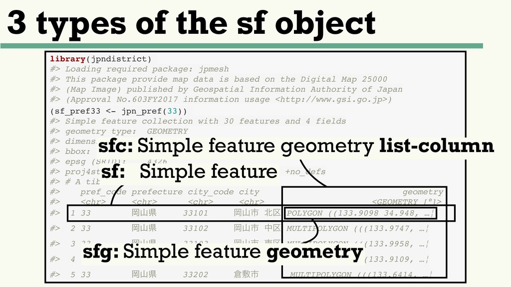 3 types of the sf object library(jpndistrict) #...