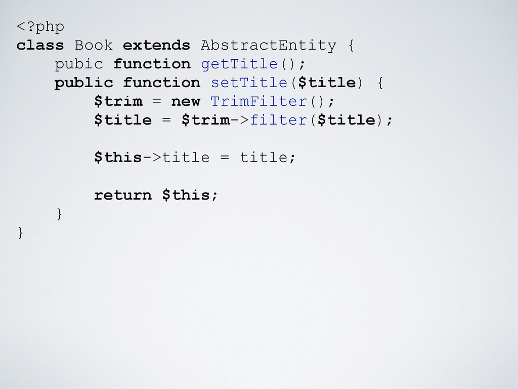 <?php class Book extends AbstractEntity { pubic...