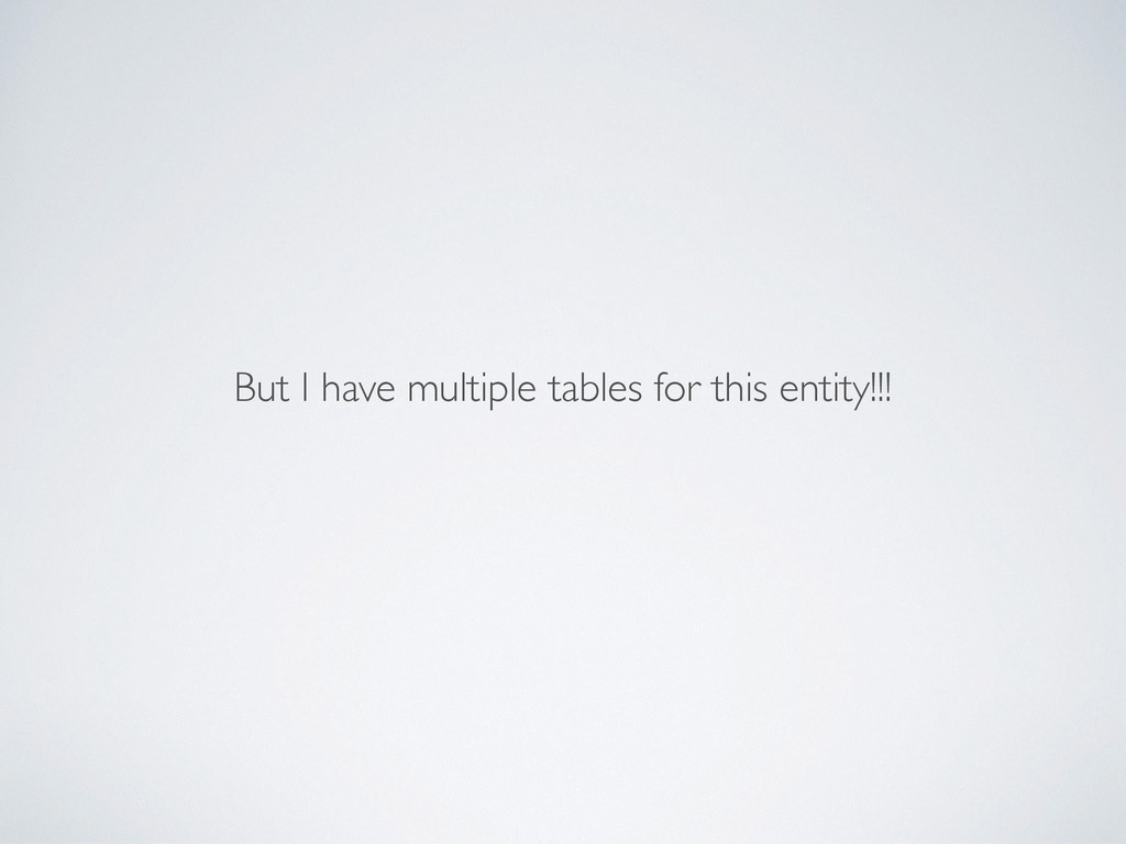But I have multiple tables for this entity!!!