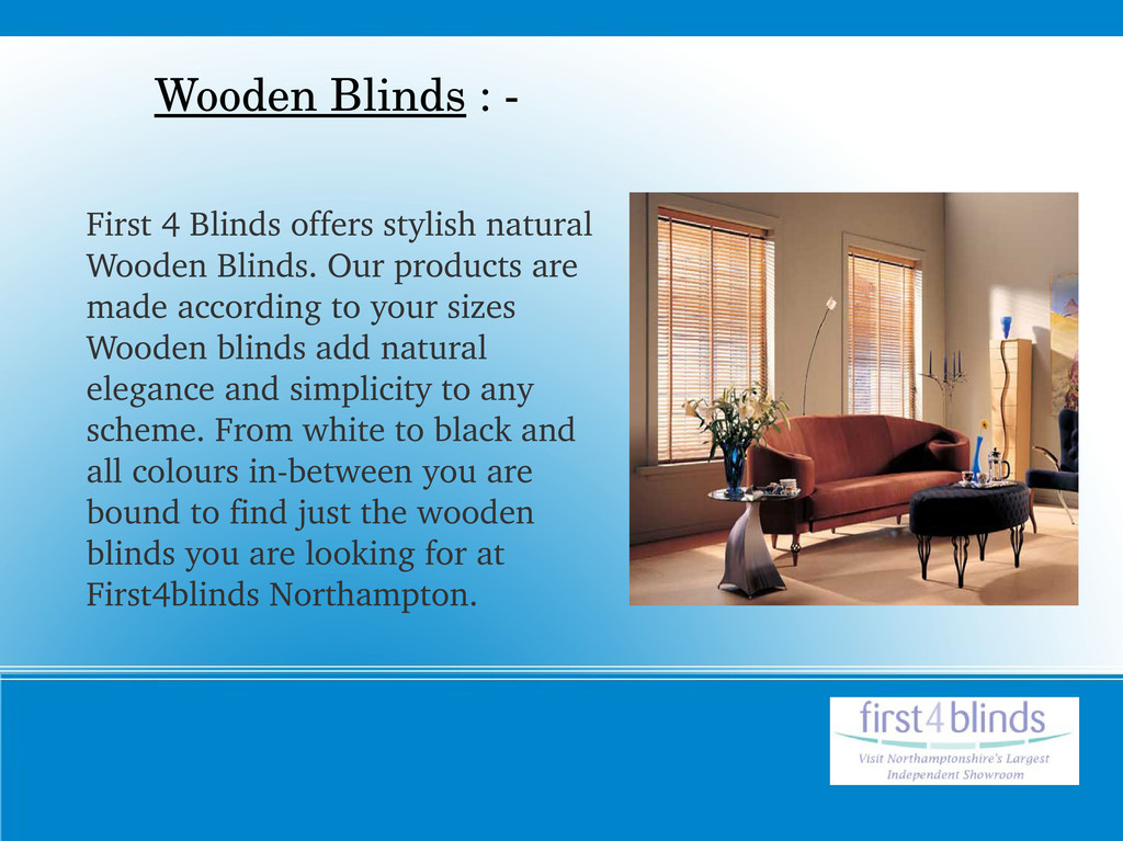 First 4 Blinds offers stylish natural Wooden Bl...