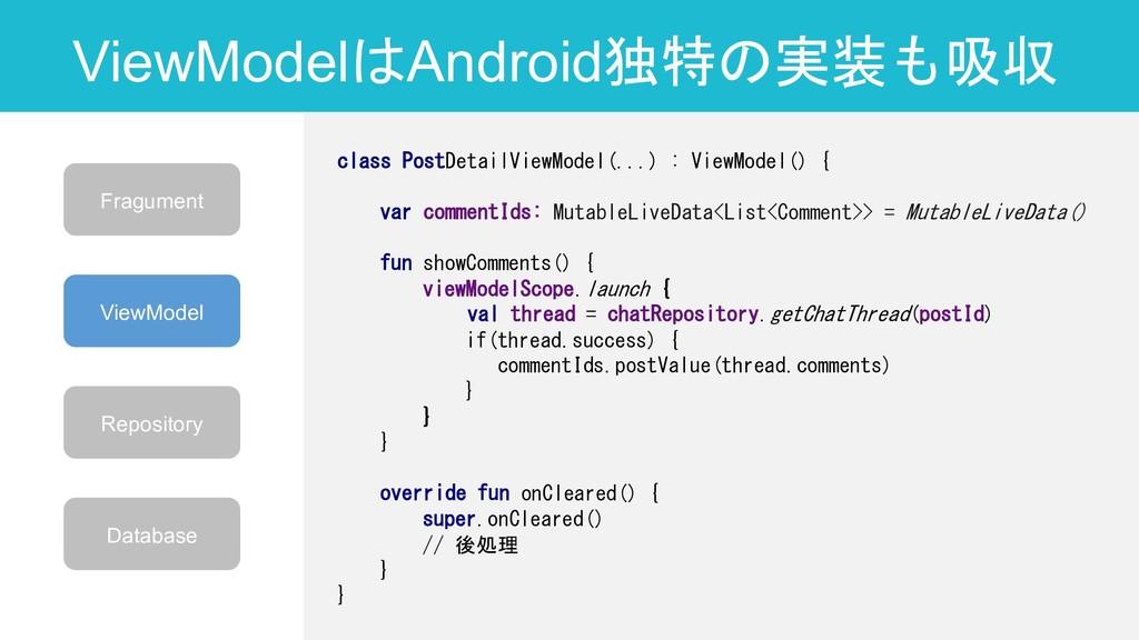 ViewModelはAndroid独特の実装も吸収 26 class PostDetailVi...