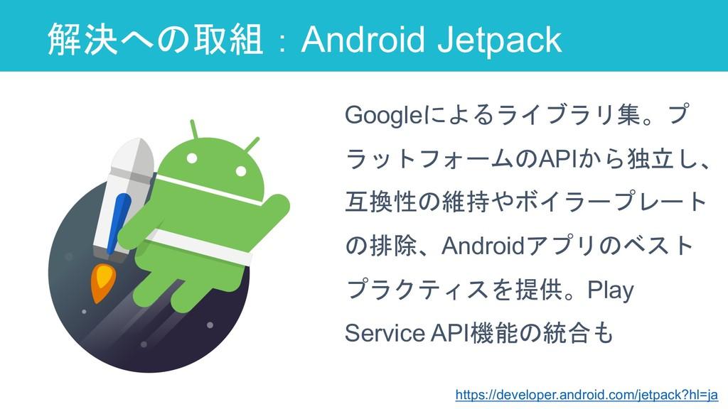 解決への取組:Android Jetpack 35 Googleによるライブラリ集。プ ラット...