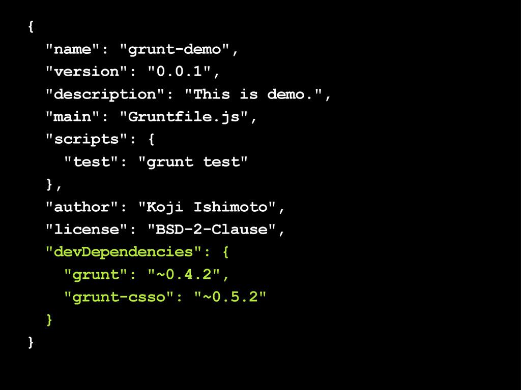 """{ """"name"""": """"grunt-demo"""", """"version"""": """"0.0.1"""", """"de..."""