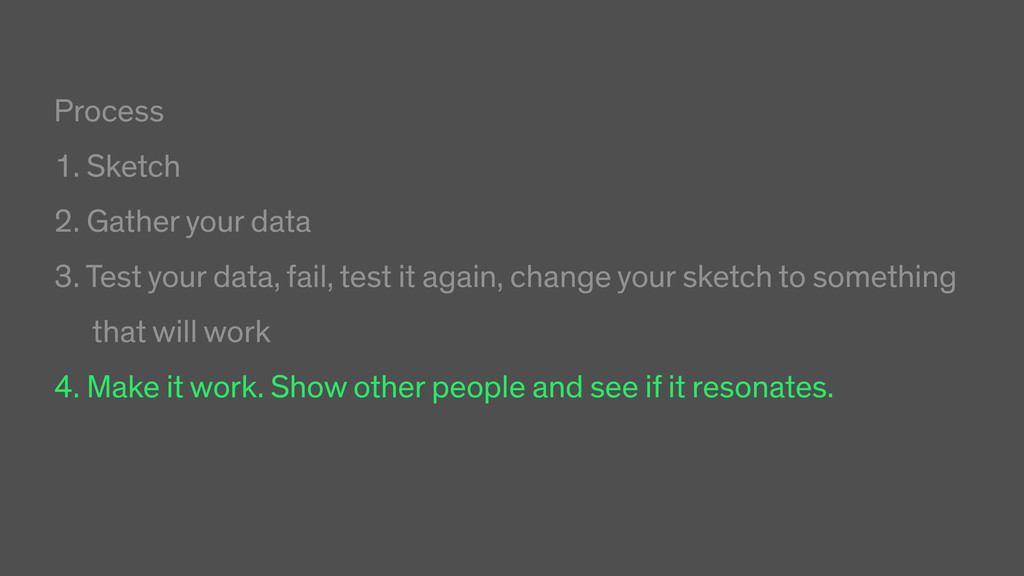 Process 1. Sketch 2. Gather your data 3. Test y...