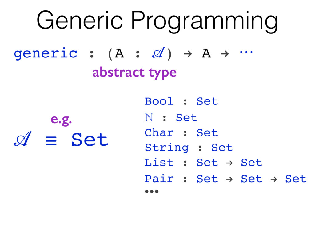 Generic Programming generic : (A : ) ! A ! ꔇ ab...