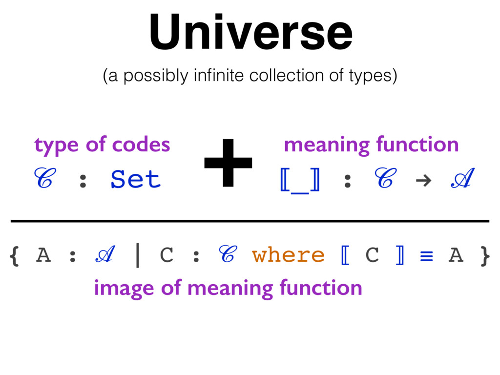 Universe  : Set + ⟦_⟧ :  !  type of codes meani...