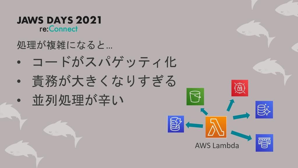 AWS Lambda 処理が複雑になると… • コードがスパゲッティ化 • 責務が大きくなりす...
