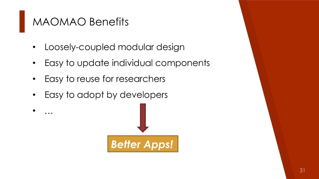 31 MAOMAO Benefits • Loosely-coupled modular de...