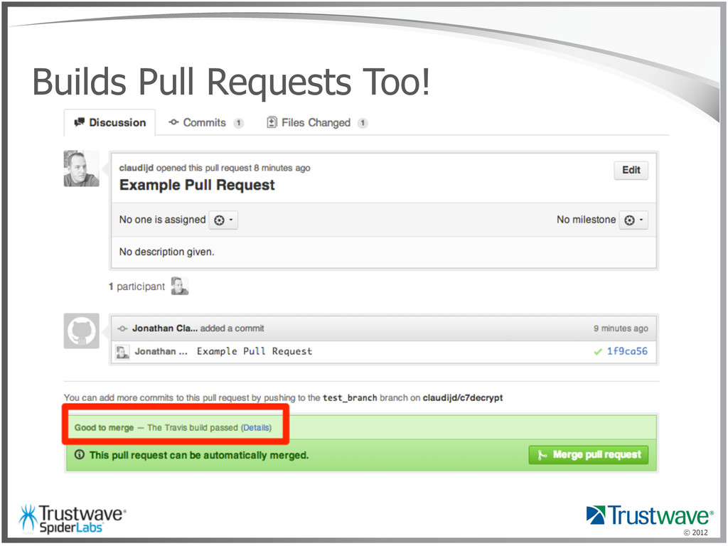 © 2012 Builds Pull Requests Too!