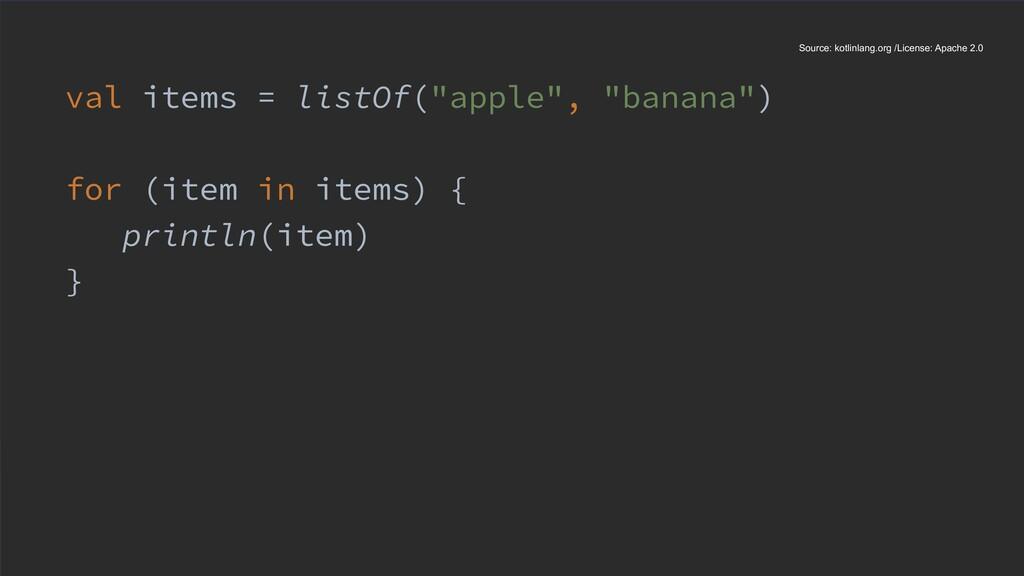 "val items = listOf(""apple"", ""banana"") for (item..."