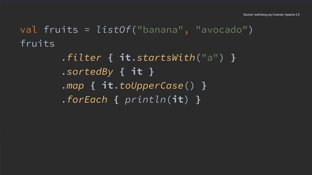 "val fruits = listOf(""banana"", ""avocado"") fruits..."