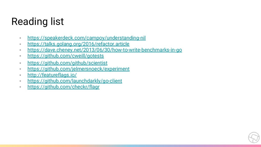 Reading list - https://speakerdeck.com/campoy/u...
