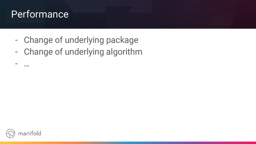 Performance - Change of underlying package - Ch...