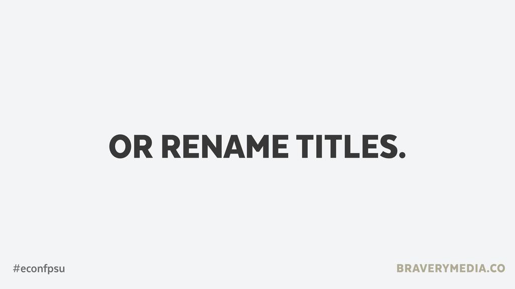 BRAVERYMEDIA.CO OR RENAME TITLES. #econfpsu