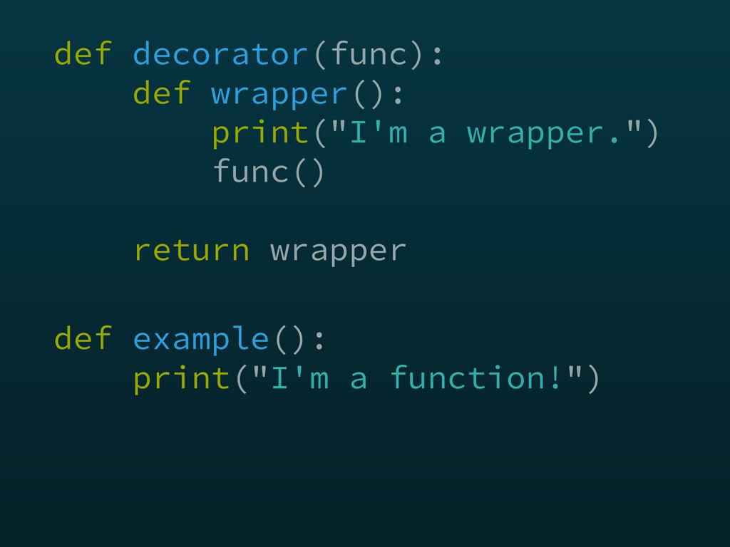 """def decorator(func): def wrapper(): print(""""I'..."""