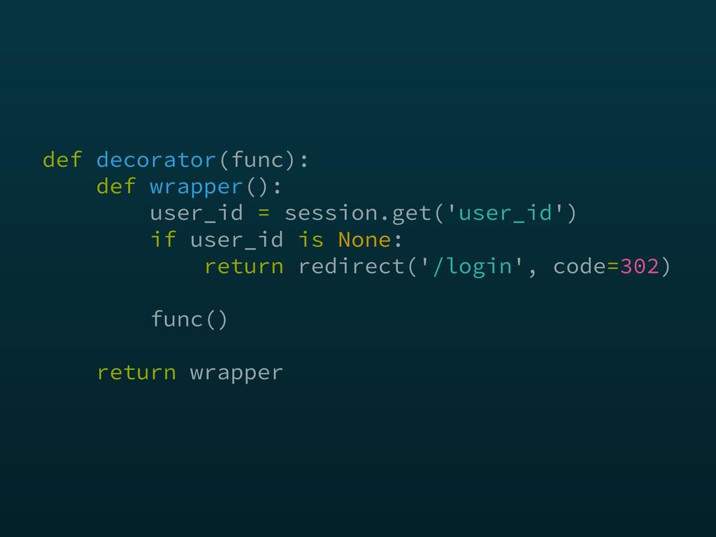 def decorator(func): def wrapper(): user_id =...