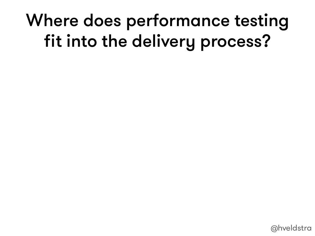 Where does performance testing fit into the deli...