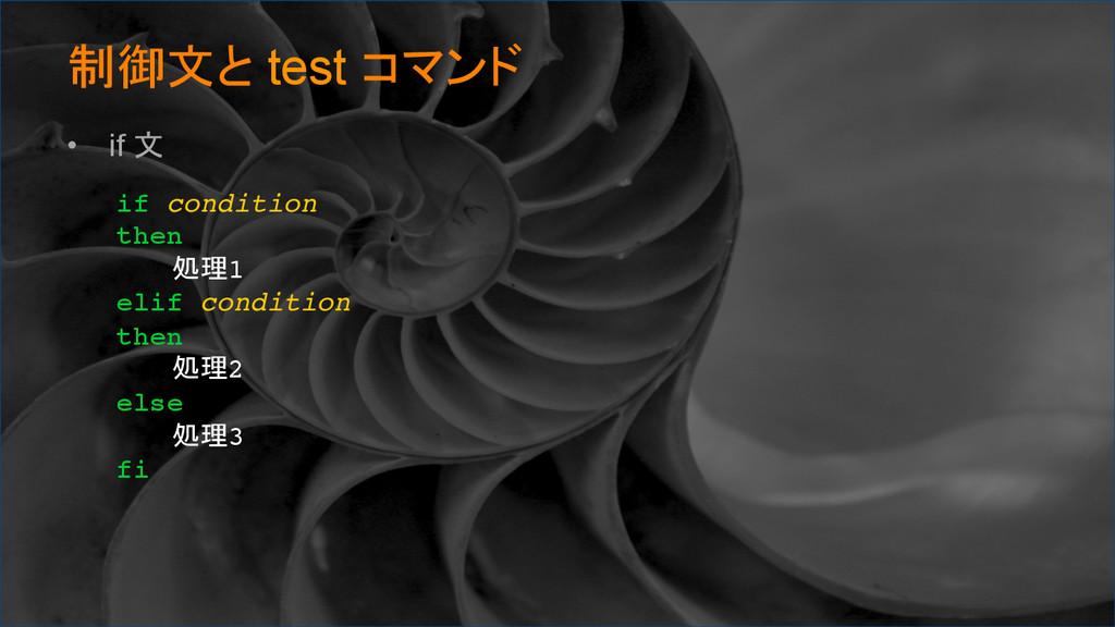 制御文と test コマンド • if 文 if condition then 処理1 ...