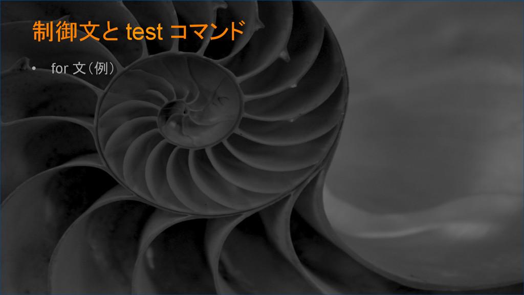 制御文と test コマンド • for 文(例)