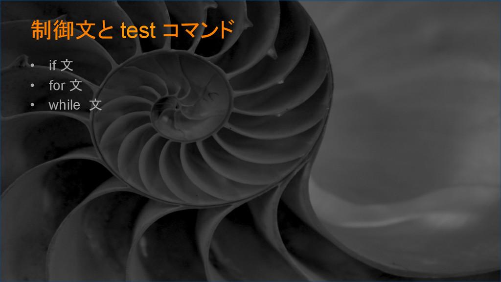 制御文と test コマンド • if 文 • for 文 • while 文