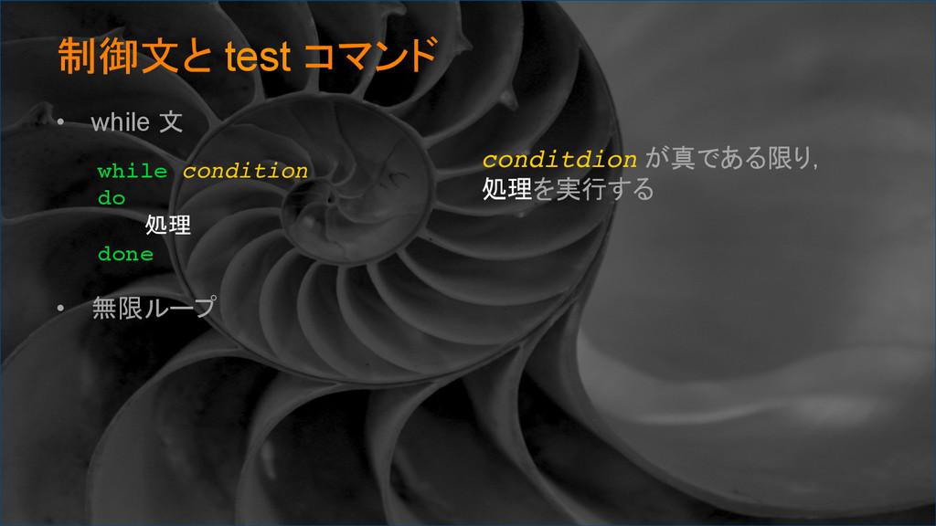制御文と test コマンド • while 文 • 無限ループ while cond...