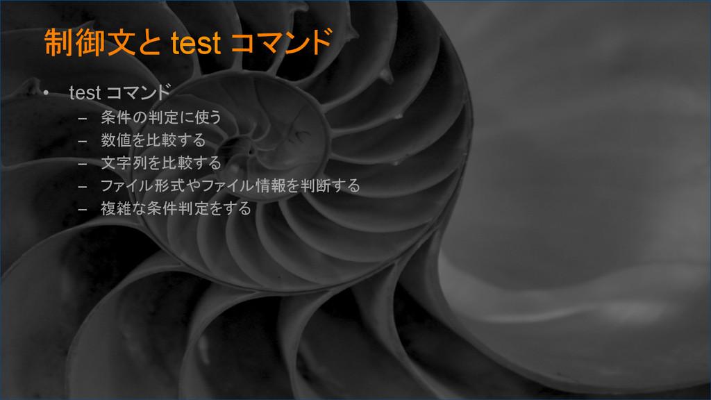 制御文と test コマンド • test コマンド – 条件の判定に使う – 数値...