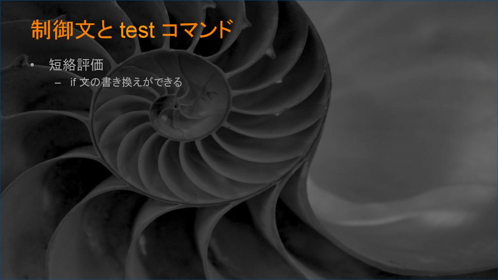制御文と test コマンド • 短絡評価 – if 文の書き換えができる