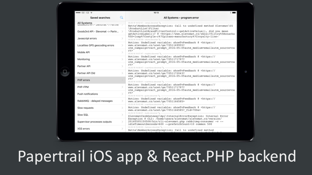 Papertrail iOS app & React.PHP backend