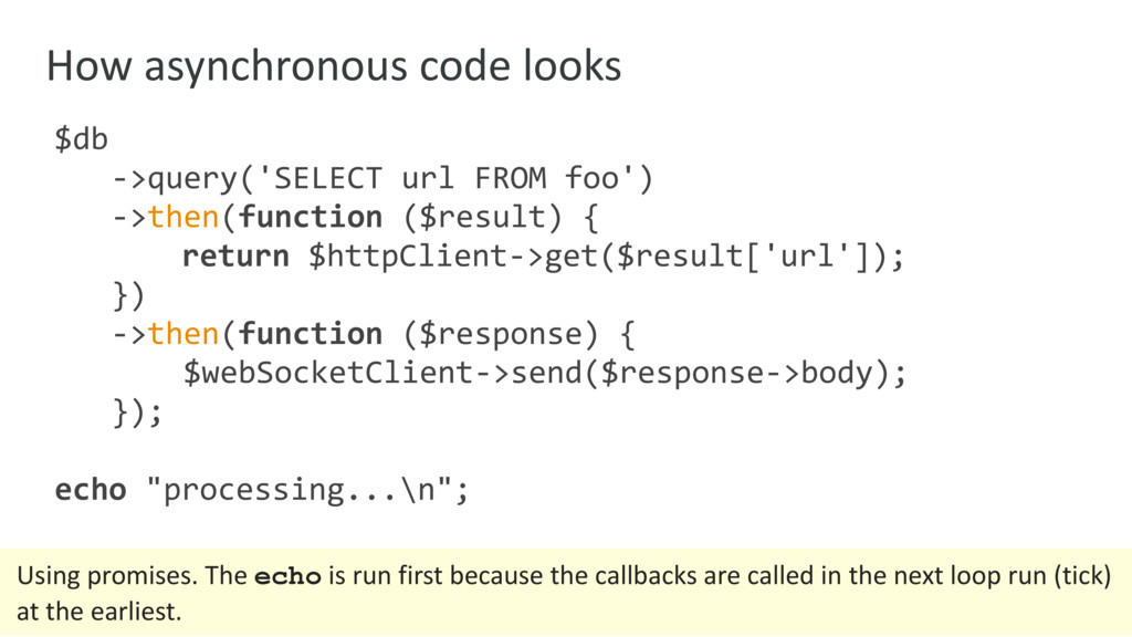 How asynchronous code looks $db ->query('SELECT...