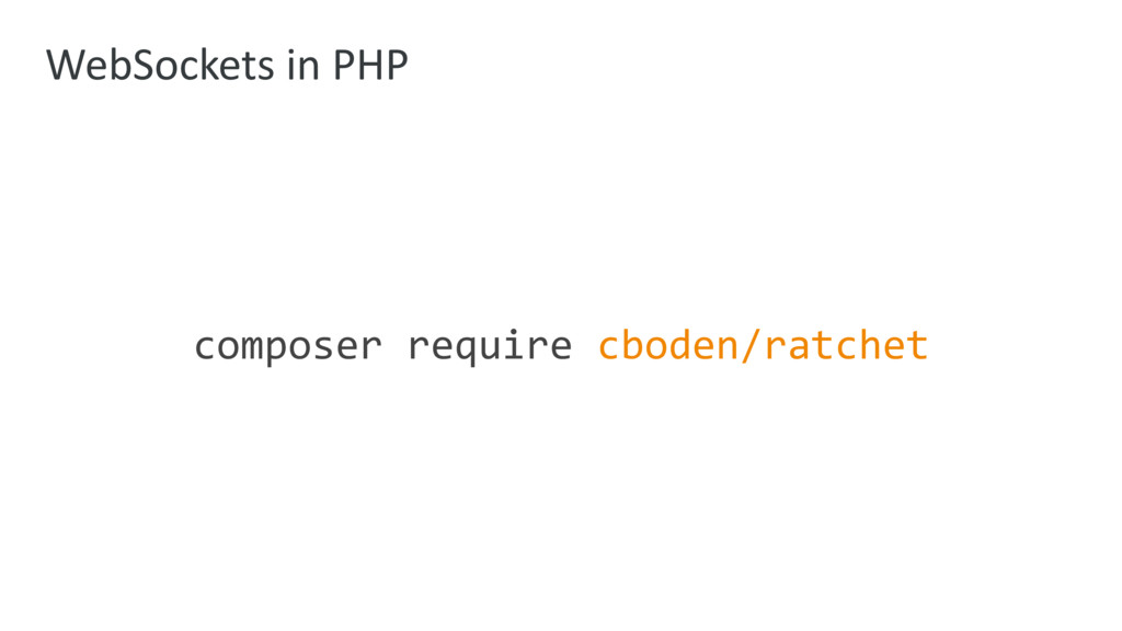 WebSockets in PHP composer require cboden/ratch...