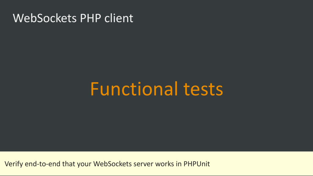 WebSockets PHP client Functional tests Verify e...