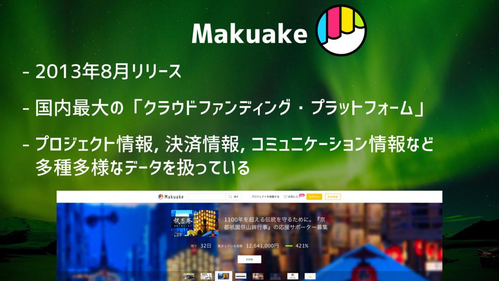 Makuake - 2013年8月リリース - 国内最大の「クラウドファンディング・プラットフ...
