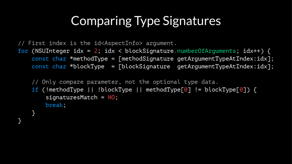 Comparing Type Signatures // First index is the...