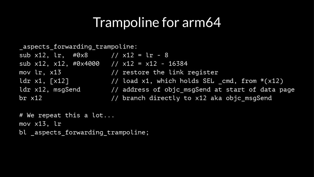 Trampoline for arm64 _aspects_forwarding_trampo...