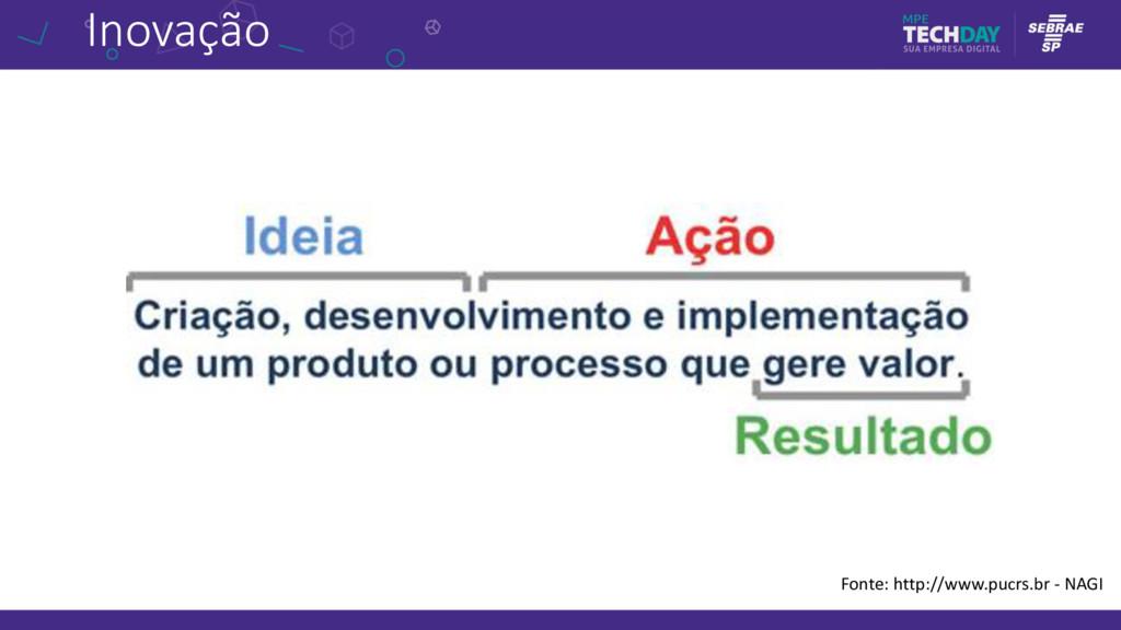 Inovação Fonte: http://www.pucrs.br - NAGI
