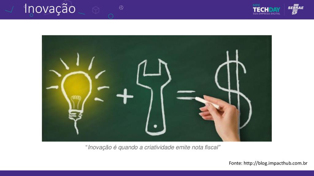 """Inovação Fonte: http://blog.impacthub.com.br """"I..."""