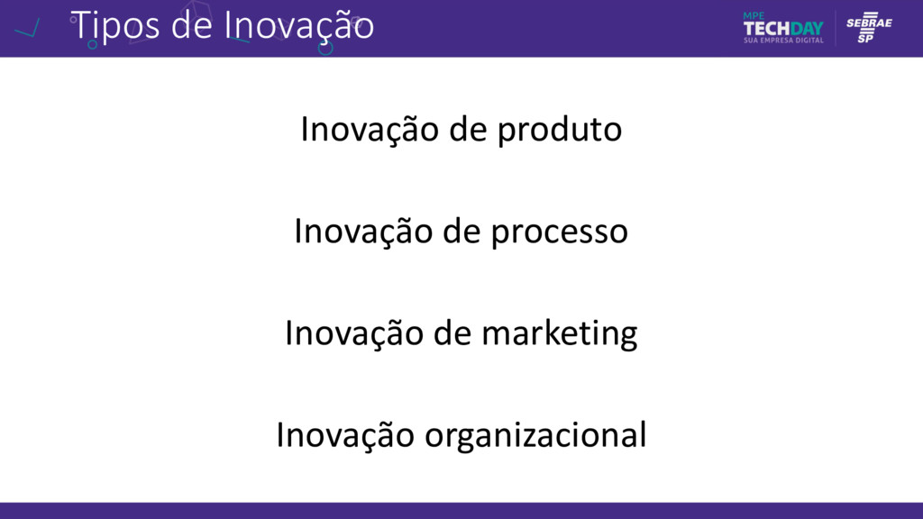 Tipos de Inovação Inovação de produto Inovação ...