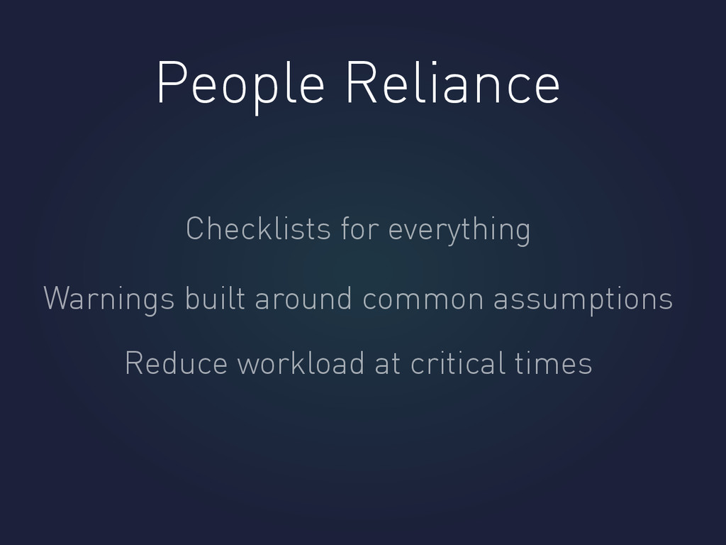 People Reliance Checklists for everything Warni...