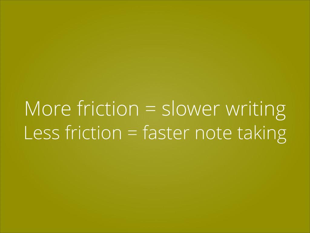 More friction = slower writing Less friction = ...