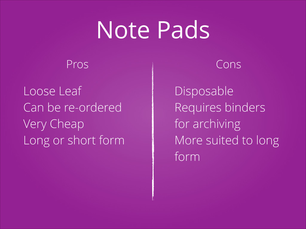 Note Pads Pros Cons Loose Leaf Can be re-ordere...