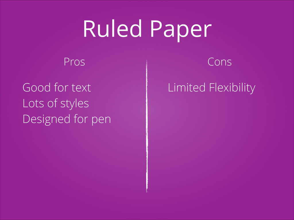 Ruled Paper Pros Cons Good for text Lots of sty...