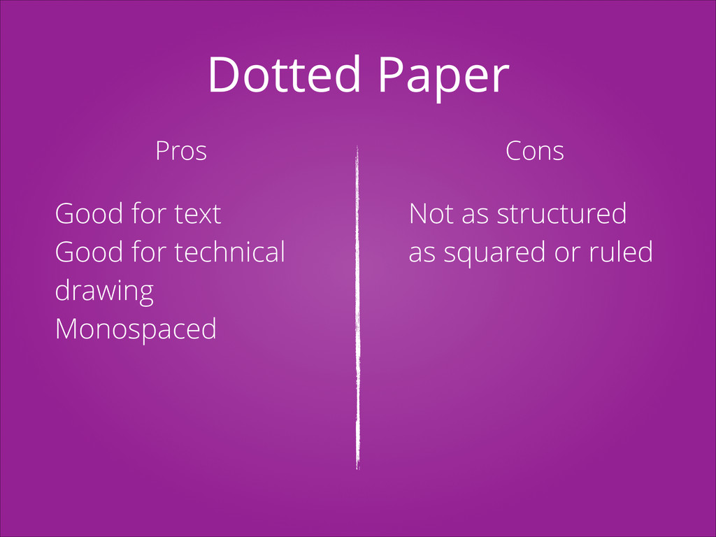 Dotted Paper Pros Cons Good for text Good for t...
