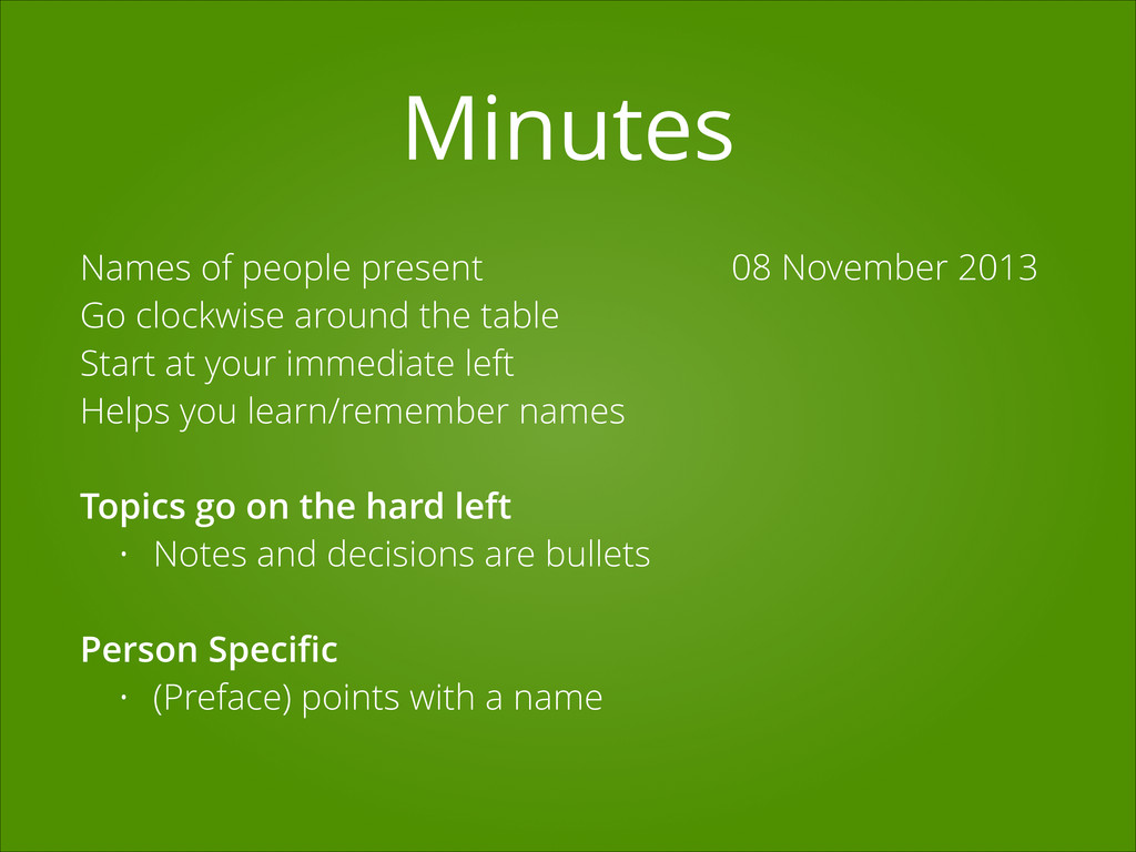 Minutes 08 November 2013 Names of people presen...